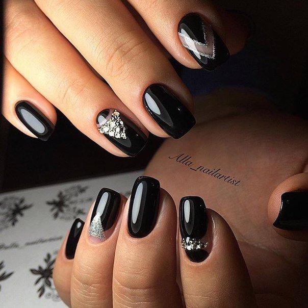 Дизайн ногтей темный новинки